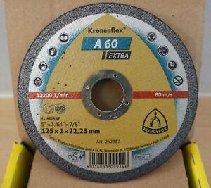 "Klingspor Kronenflex A60 Extra Cutting Discs 125mm x 1mm x 22.23mm / 5"""