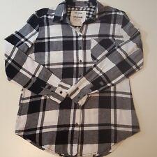 Garage Womens Flannel Boyfriend Shirt Size XSmall Black And White  100% Cotton