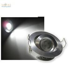 LED focos empotrados Aluminio rendondo blanco luz fría 12V 3W, orientable spot
