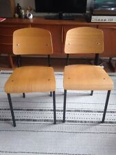 Jean Prouve Replica Standard Dining Chair Pair Mid Century