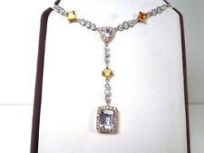 New Amethyst Citrine Diamond 14k WG Pendant Necklace - GAL Appraisal