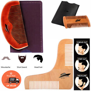 Natural Wood Beard Mustache Comb Anti-static + Leather case Shaping Tool variety