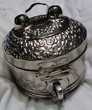 STAINLESS STEEL HAMMERED ORIENTAL ASIAN PANDAN OR SPICE BOX NEW