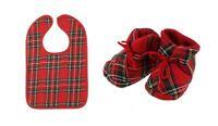 Schottische Royal Stewart Tartan Baby Lätzchen & Stiefeletten Satz IN Versch Gr