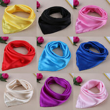 Women Square Satin Solid Silk Feeling Scarf Wraps Shawl Scarfves Bandana