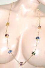 COLLAR mujer oro dorado cristales azul púrpura amarillos verdes elegante G32