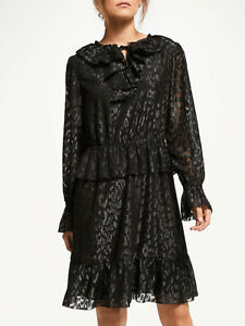New Somerset by Alice Temperley Frill Metallic Dress, Black Silver, 10, RRP £140