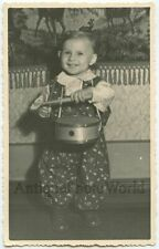 Baby with toy drum antique photo