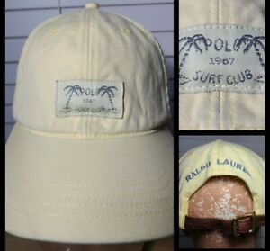 Vintage POLO Surf Club Ralph Lauren Leather Strapback Spellout Hat (T2)