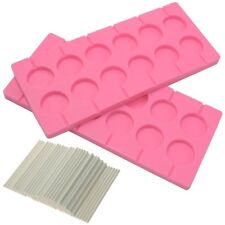 BIGTEDDY - 2x 12-Capacity Round Chocolate Hard Candy Silicone Lollipop Molds