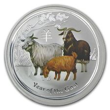 Perth Mint Australia 2015 Colored Goat 1/2 oz .999 Silver Coin