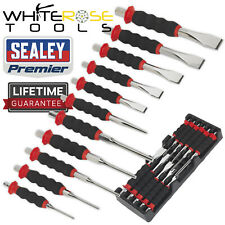 Sealey Sheathed Punch and Chisel Set 11pc Premier 3-8mm Punches 12-24mm Chisels