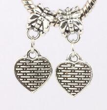 2P European Silver CZ Charm Beads Fit sterling 925 Necklace Bracelet Chain #D628