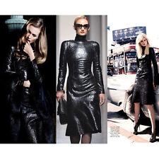 GUCCI Crackled Black Patent Leather High-Neck Dress IT 44 US 8 UK 12 NEW $3.8K