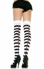LEG AVENUE Striped Thigh High Stockings with POKER SUIT QUEEN OF HEARTS 6305