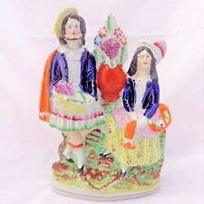 Antique c 1850 Staffordshire Flatback Figural Group Highland Couple with Grapes