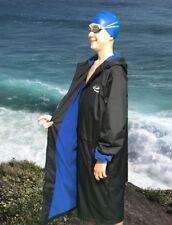 Swim Parka Wazsup Black with Blue Size XS (Pool deck coat, swim jacket)