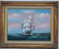 Original  oil painting on board, seascape, Sailing ship,Unsigned, Framed