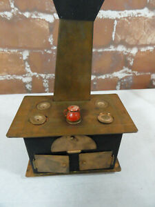 """Doll House Antique Wood Fire Cook Stove and ovens~no brand~w/tops~Cute 4""""x2.5""""x3"""