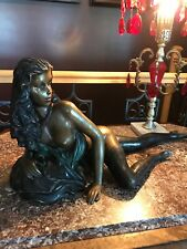 RARE ANTIQUE ART NOUVEAU DECO SPELTER NUDE LADY STATUE 22""
