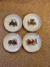 Vintage Four Limoge Porcelaines D'Art Butter Or Miniature Plates W/ Antique Cars