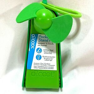"""Pocket Fan Portable Battery Operated Carabiner Clip Built in Stand O2Cool 4.5"""""""