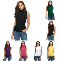 Fashion Womens Casual Sleeveless Solid Slim Fit Turtleneck Tee Shirt Top Blouse