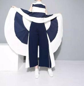 White Blue Nautical Stripe Designer Long Layering Tunic Blouse Loose Top 10 12