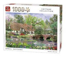 1000 Piece Jigsaw Puzzle April Thatch Cottage River & Bridge Country Scene 05358