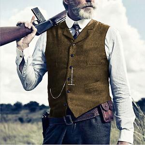 Tweed Vest Retro Men Waistcoat Gilet Vintage Herringbone Tailored Lined Business