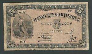 MARTINIQUE 5 FRANCS 1942 P-16 b  VG