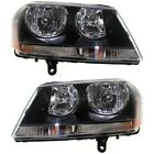 Black 08-14 For Dodge Avenger Headlights Headlamps Replacement 08-14 Left+Right