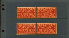 4 VINTAGE 1925 BRADFORD PENNA CENTENNIAL OLD HOME WEEK POSTER STAMPS (L953)