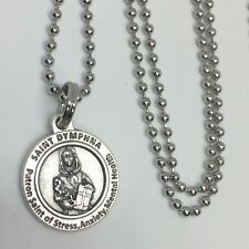 St Dymphna Stress Pendant Necklace 24 inch Stainless Steel Ball Link Chain
