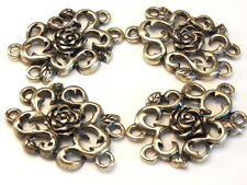 4 - 2 HOLE BEAD LINK CONNECTOR FILIGREE VINES LEAVES ROSES ANTIQUED BRASS PLATED
