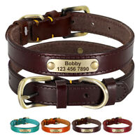 Genuine Leather Personalised Dog Collar Adjustable Small Large Dogs ID Collars