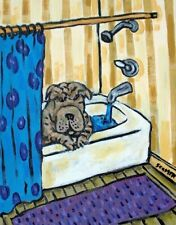 shar pei dog taking a bath  art print 4x6 modern gifts bathroom