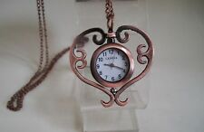 Women's/Girl's  Rose gold Finish HEART Fashion Necklace Watch/Chain