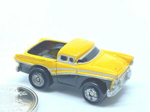 Micro Machines Chevy Pickup in Yellow with silver side strip Vintage Rare