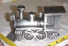 "Sheridan Metal TRAIN ENGINE 'Piggy BANK'  Silver Color - 6 x 3 x 2"" - NonTarnish"