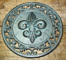 Cast Iron Round Fleur De Lis Plaque Sign Rustic Saints Home Decor Boy Scouts