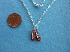 "Enamel Red Shoes Pendant Necklace Ballet Ballerina Shoe Slippers 18"" Gift # 93"
