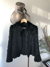 Knitted Rabbit Fur Jacket -black , size 12