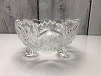 Vtg. Brilliant Cut Crystal Glass Bowl Relish Oblong Dish Sawtooth Good Condition