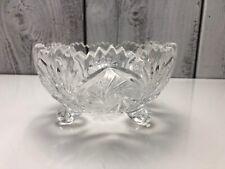 Vtg. Brilliant Cut Crystal Glass Bowl Relish Oblong Dish Sawtooth Good Condition