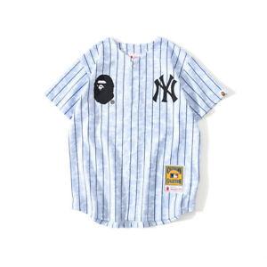Bape A Bathing Ape Stripes Short Sleeve Tee Breathable Cardigan Baseball T-shirt