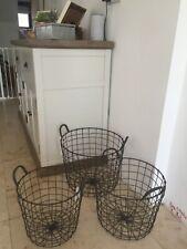 Vintage Industrial Style Round Wire Storage Basket With Handles Dark Grey Heavy