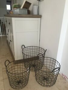 Vintage Industrial Style Round Wire Storage Basket With Handles Dark Grey Heavy