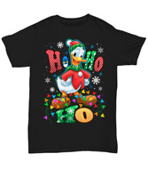 Donald Duck Ho Ho Ho Christmas Black T Shirt Men S-6XL Cotton
