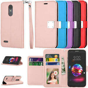 For LG Tribute Empire/K8+/Rebel 4 LTE Phone Leather Card Stand Strap Wallet Case